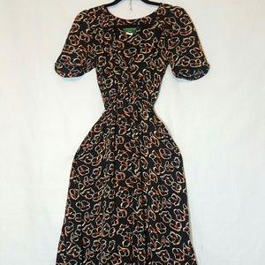 Vintage Floral Black Hi Lo Boho Dress Size 8